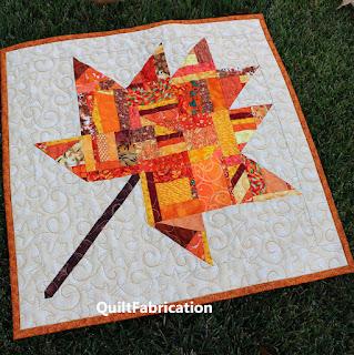fall foliage-maple leaf-orange-red-mini quilt-scrap quilt
