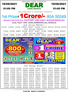 Nagaland State Lottery Result Today 19.08.2021,1pm