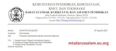 POS [Prosedur Operasional Standar] Penyelenggaraan Asesmen Nasional Tahun 2021