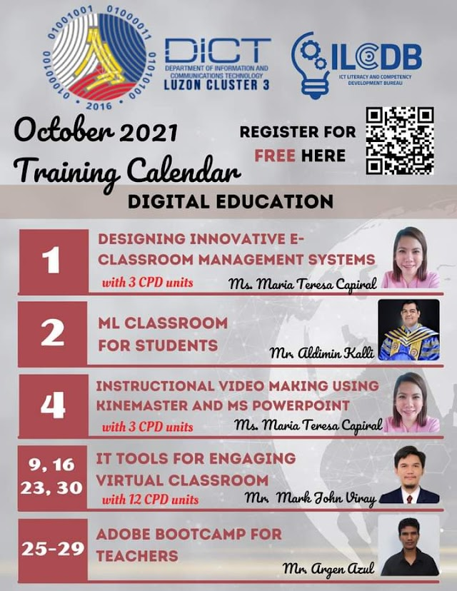 FREE WEBINAR FOR TEACHERS WITH CPD UNITS | OCTOBER 2021 | DICT