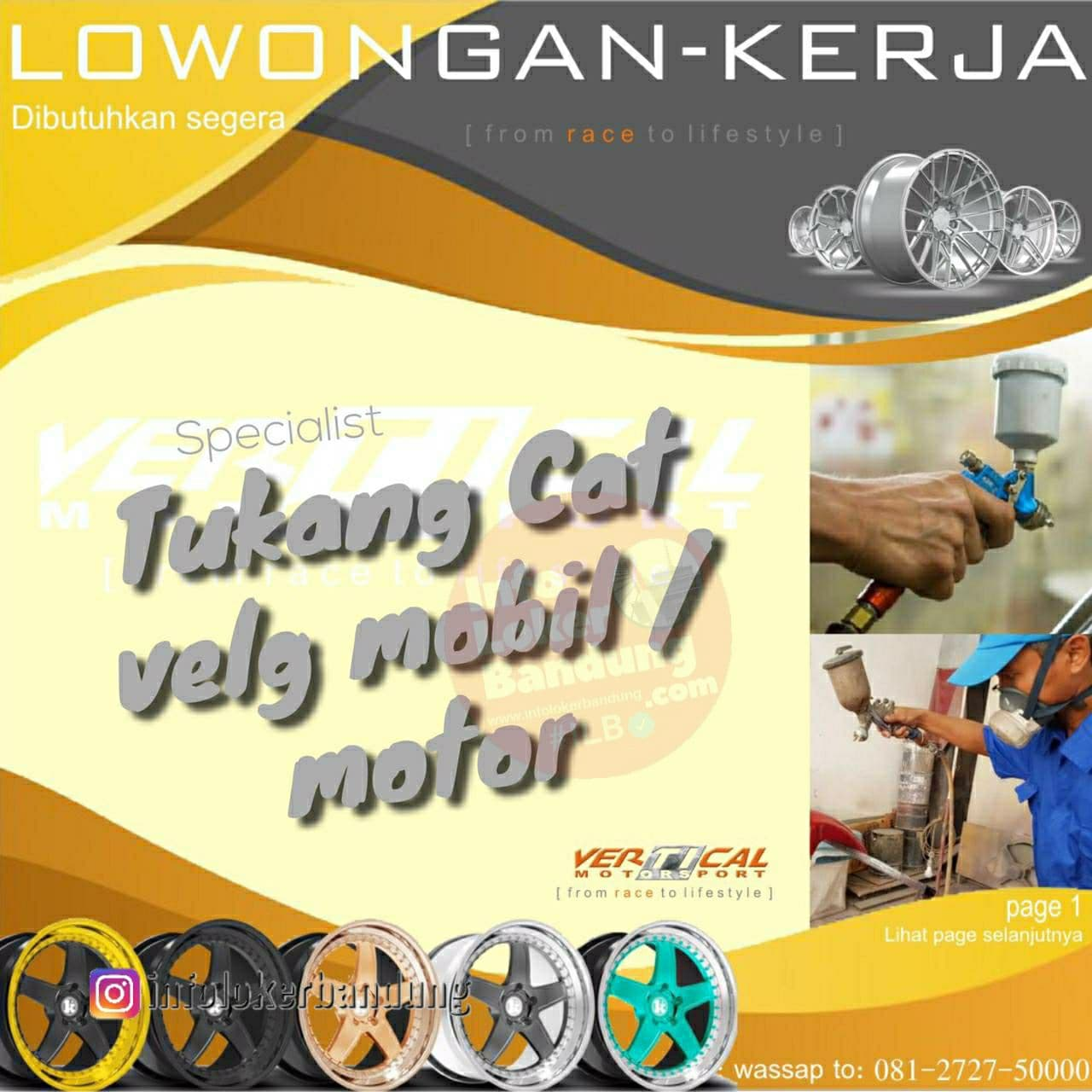 Loowngan Kerja Tukang Cat Velg Mobil / Motor Vertical Bandung Oktober 2021