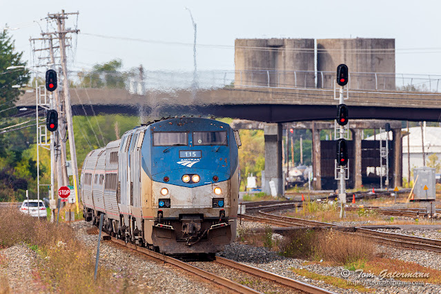 Amtrak's Lake Shore Limited rolls east on the Syracuse Terminal Subdivision at DeWitt Yard