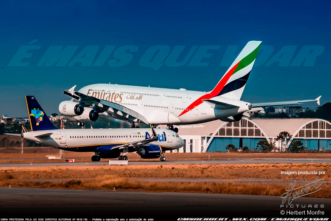 Emirates Signs Codeshare Agreement with Azul   Photo © Herbert Monfre - Airplane photographer - Events - Advertising - Essays - Hire the photographer by e-mail cmsherbert@hotmail.com   Image produced by Herbert Pictures - MORE THAN FLY