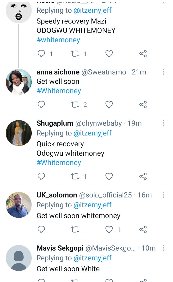 BBNaija: Fans pray for quick recovery as pictures of Whitemoney in sick bed surface online