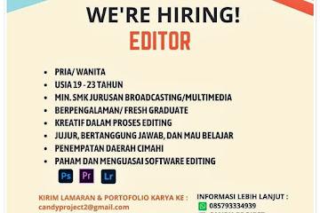 Loker Bandung Editor Candy Project