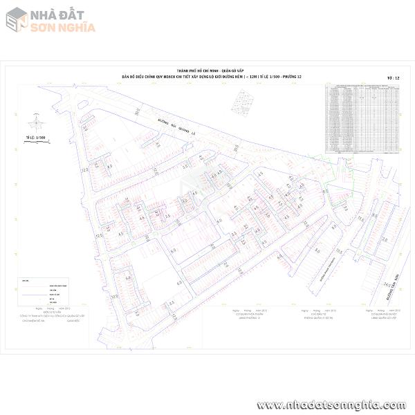 Bản đồ lộ giới hẻm phường 12 quận Gò Vấp