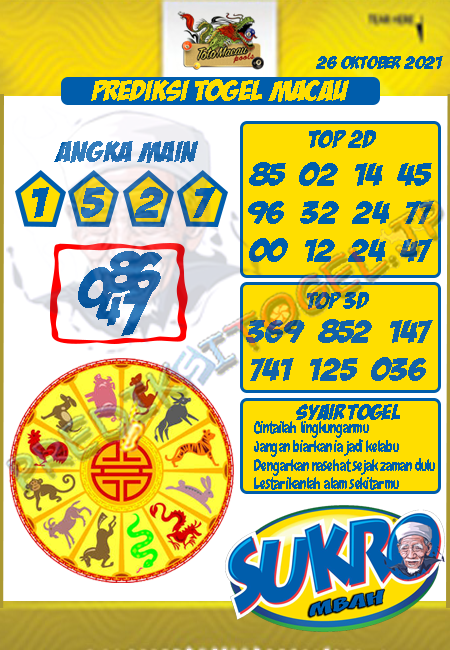 Prediksi Mbah Sukro Macau Hari Ini 26-Okt-2021