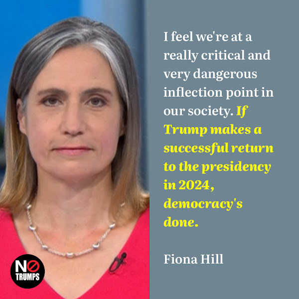 I feel we're at a really critical and very dangerous inflection point in our society. If Trump makes a successful return to the presidency in 2024, democracy's done. — Fiona Hill, former top Russia expert from the Trump White House