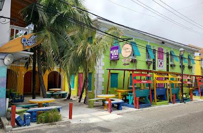 colourful roadside bar seating