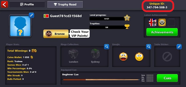 your account ID on the 8 ball pool game