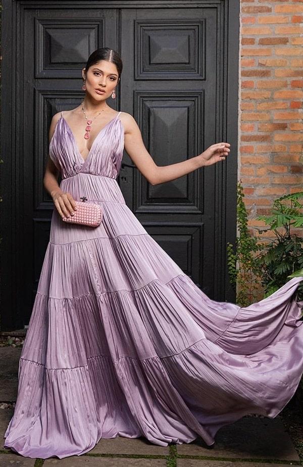 vestido longo lilas para madrinha de casamento