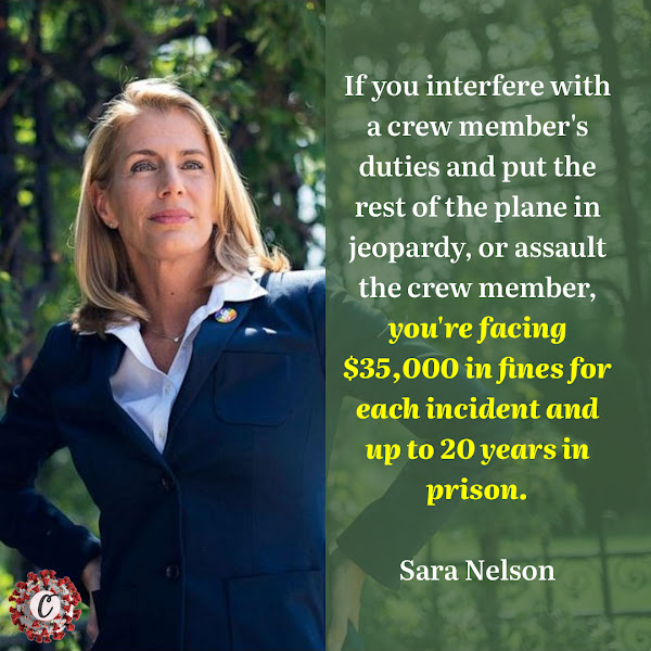 If you interfere with a crew member's duties and put the rest of the plane in jeopardy, or assault the crew member, you're facing $35,000 in fines for each incident and up to 20 years in prison. — Sara Nelson, International President of the Association of Flight Attendants