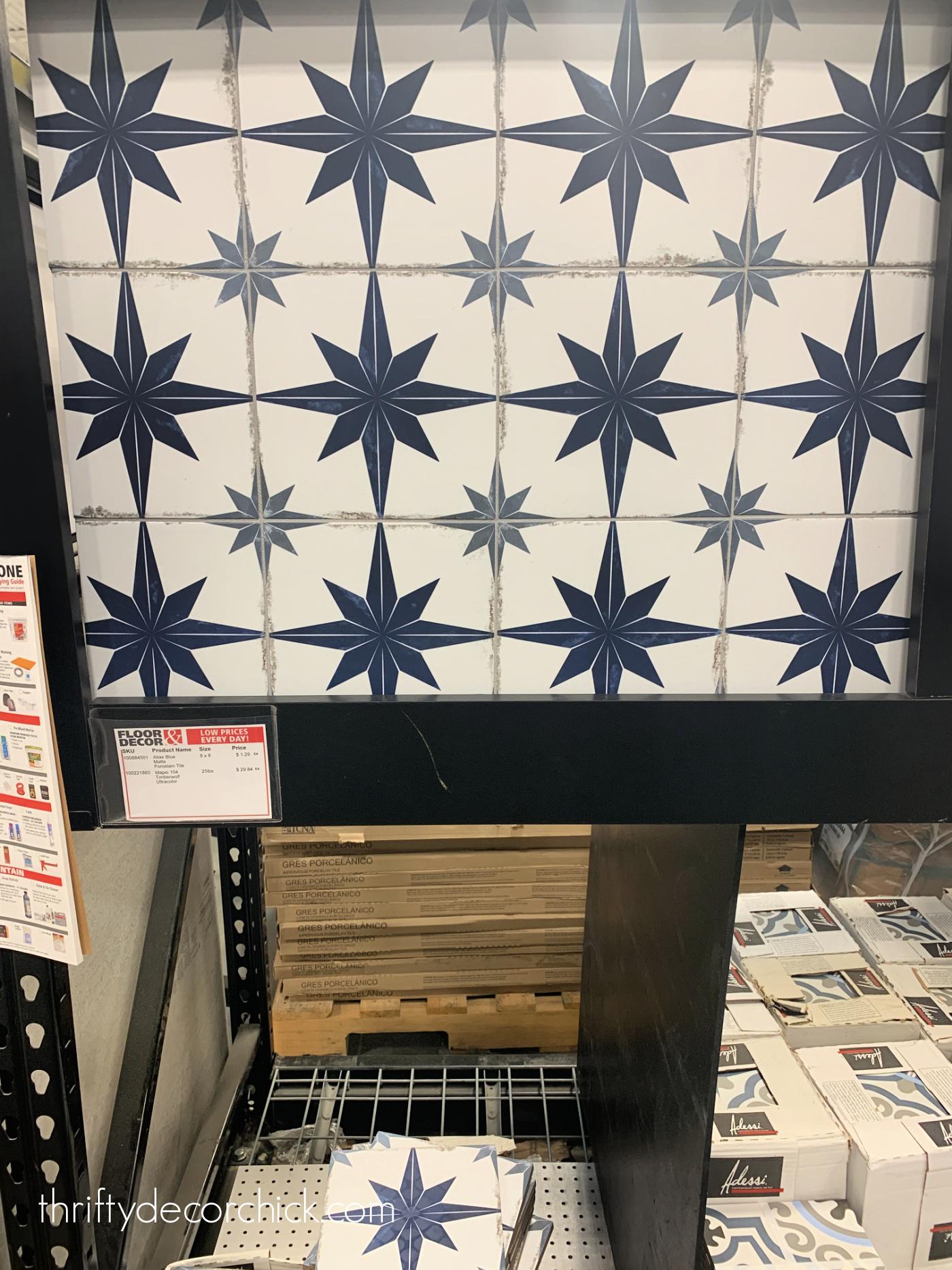 blue gray and white star tile