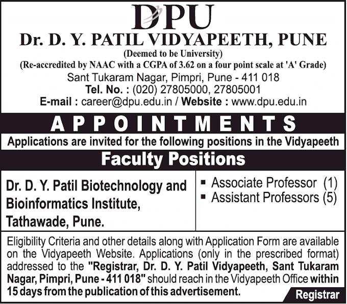 DPU Pune Biotech/Bioinformatics Faculty Jobs