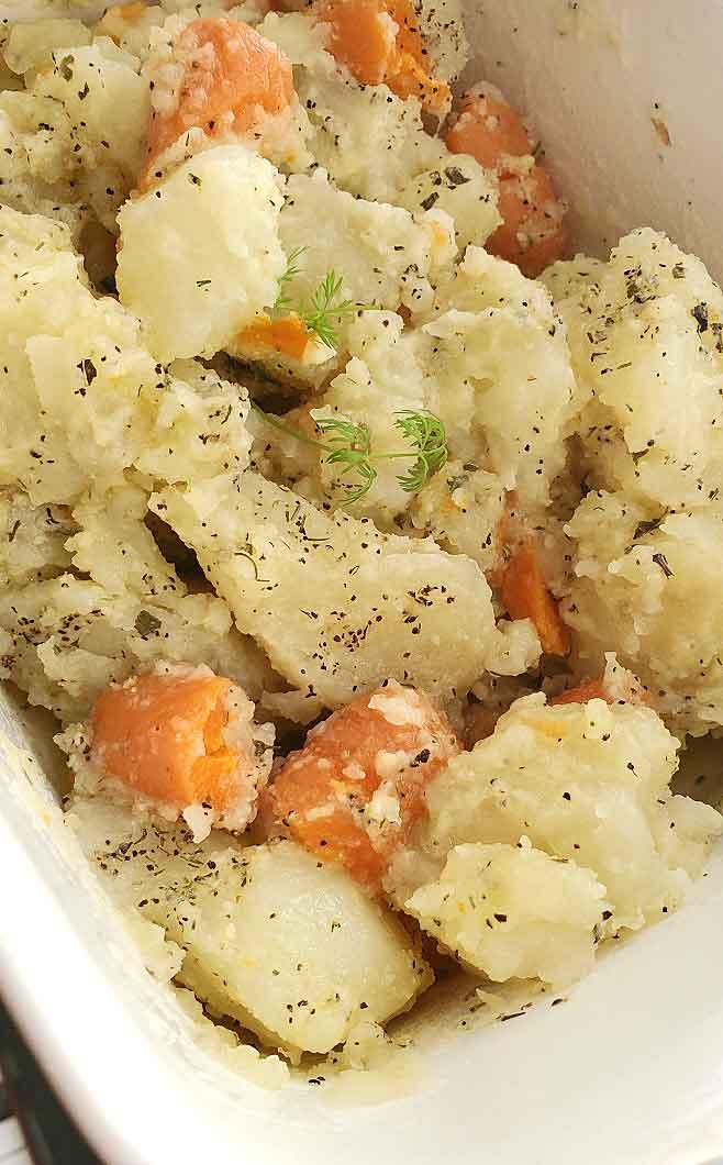 a chunky potato and carrot combination
