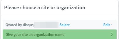 Select website option disqus
