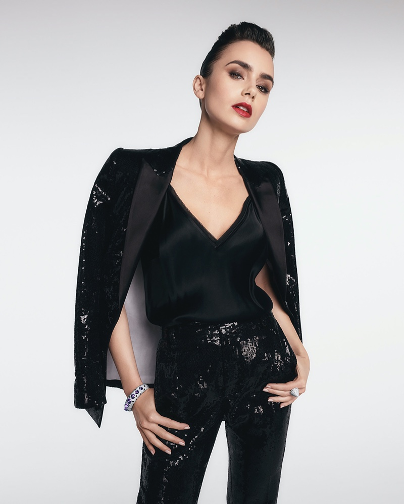 Dressed in black sequins, Lily Collins fronts Cartier Clash [Un]limited campaign.