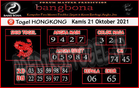 Prediksi Bangbona Togel Hongkong Kamis 21 Oktober 2021