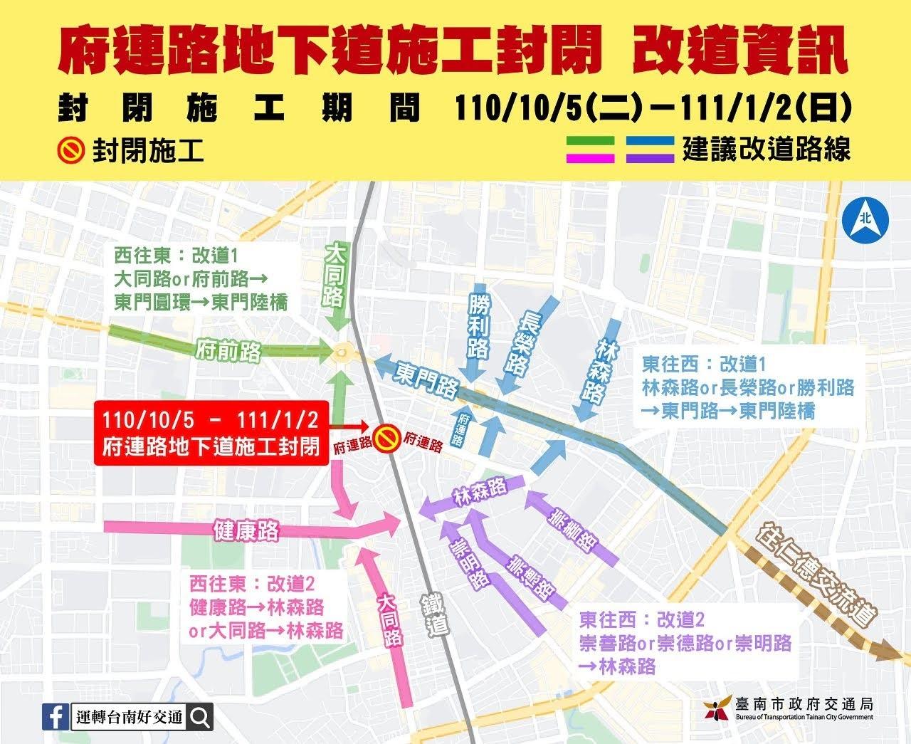 通勤時間記得避開!東區府連路地下道10/5封閉三個月|建議改道路線看這裡