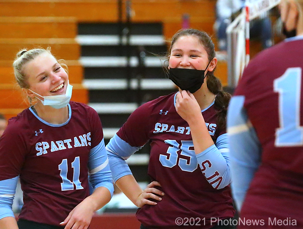 Addie Roesch and Ashley Eldridge enjoy a light moment