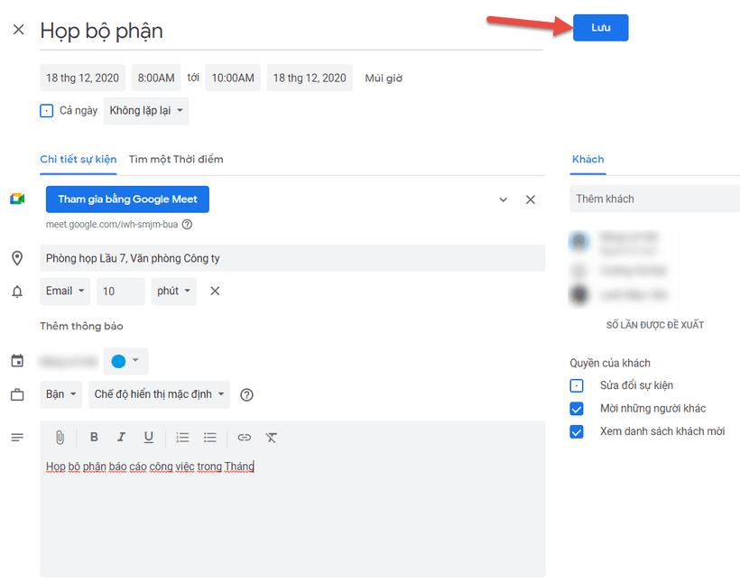 Hướng dẫn tạo cuộc họp sự kiện trên Lịch (Calendar) Gmail