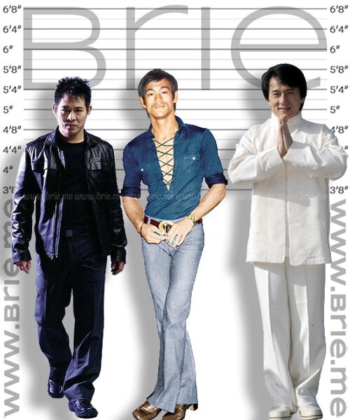 Jet Li height comparison with Bruce Lee and Jackie Chan