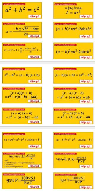Std 6 To 8 Maths Useful Symbol(Sangna) And Formulas (Sutro) Pdf  Dhoran 6 To 8 Ganit Upayogi Sutro Pdf