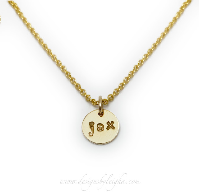 Gold Charm Necklaces - JAX shown on a 9mm round 14k gold-filled charm and 14k gold-filled necklace...