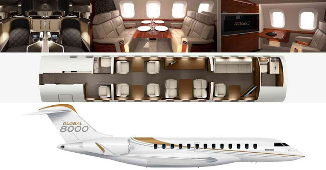 Most Luxurious Private Planes In The World - Bombardier Global 8000 - Moniedism