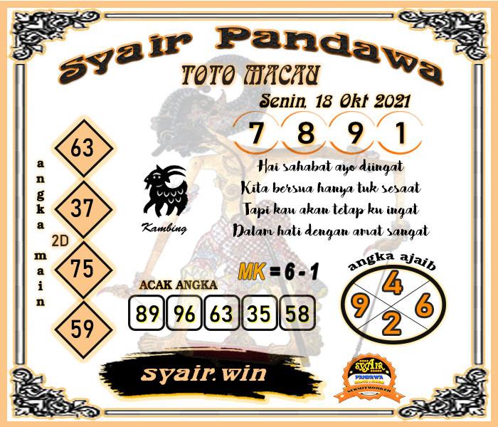Syair Pandawa Toto Macau Senin 18 Oktober 2021