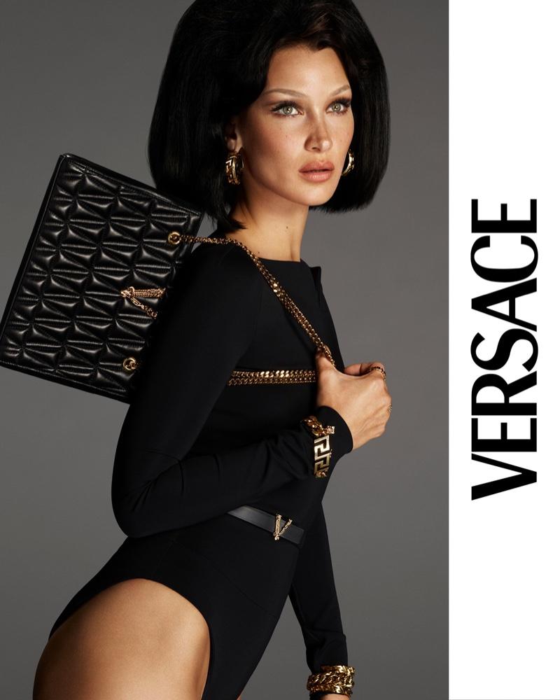 Model Bella Hadid poses for Versace Virtus handbag 2021 campaign.