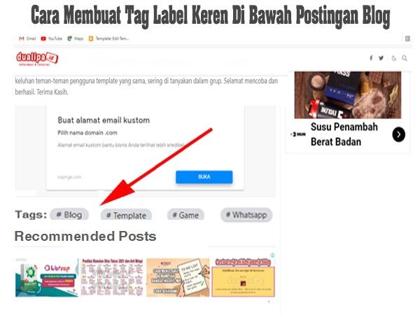 Cara Membuat Tag Label Keren Di Bawah Postingan Blog