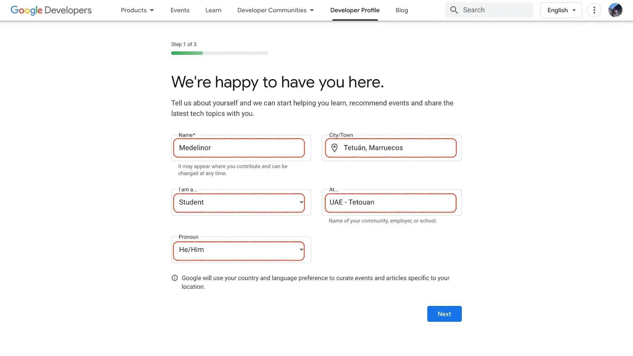معلومات يجب ملؤها لإنشاء ملف تعريف Google Developers