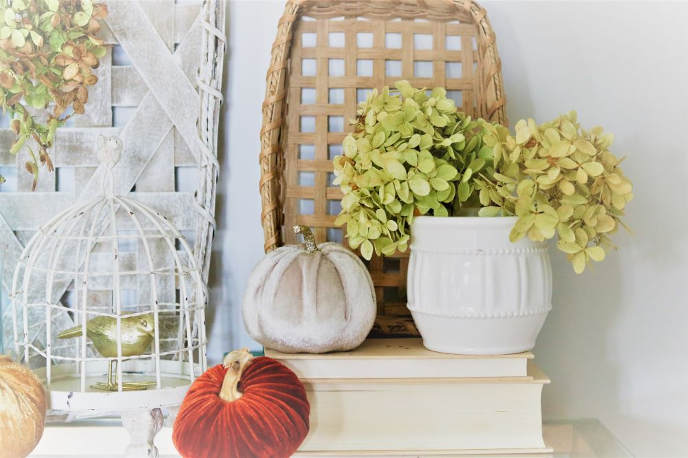 orange-velvet-pumpkin-birdcage-hydrangea-gold-bird-fall-vignette