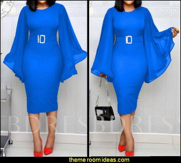 BLUE DRESS WOMENS FASHION Round Neck Mid-Calf Long Sleeve Belt Summer Women's Dress