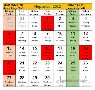 kalender jawa bulan november 2022 - kanalmu