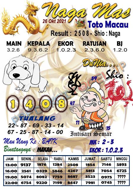 Syair Naga Mas Toto Macau Selasa 26 Oktober 2021