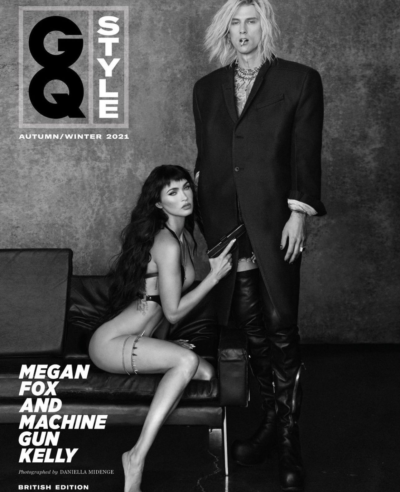 Megan Fox poses NAKED in just a pistol holster while Machine Gun Kelly dons thigh-high boots in VERY risqué shoot