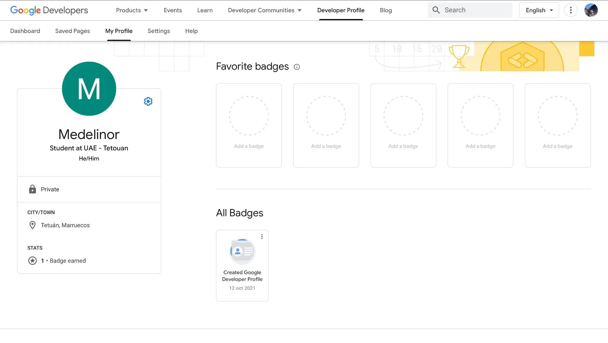 لقطة شاشة من المف الشّخصي لمطوري غوغل