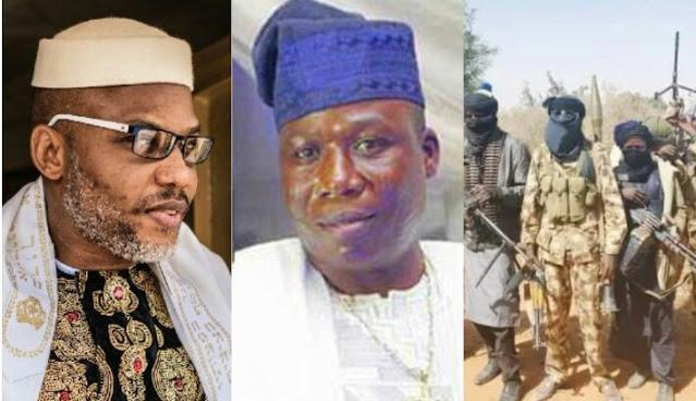 "Alt: = ""photo showing Nnamdi Kanu, Sunday Igboho and bandits"""