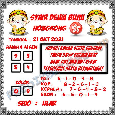 Prediksi Mantra Dewa Bumi HK Kamis 21 Oktober 2021