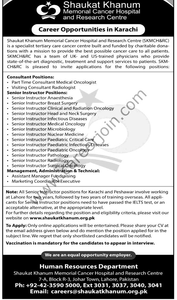 Shaukat Khanum Memorial Cancer Hospital & Research Centre SKMCH&RC Latest  Jobs October 2021