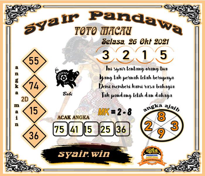 Syair Pandawa Toto Macau Selasa 26 Oktober 2021