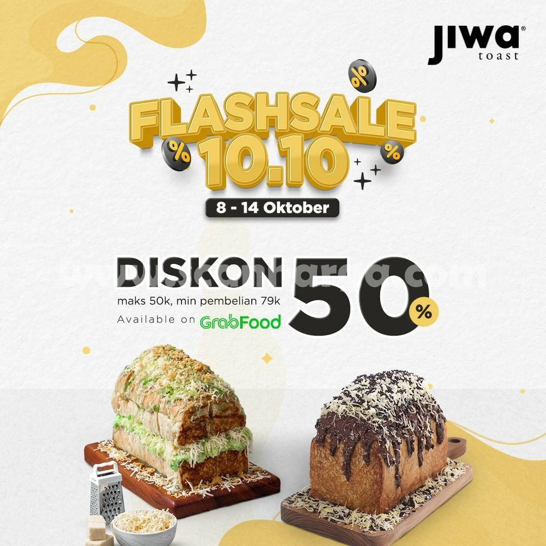 Promo JIWA TOAST Flash Sale 10.10 Diskon 50% via Grabfood
