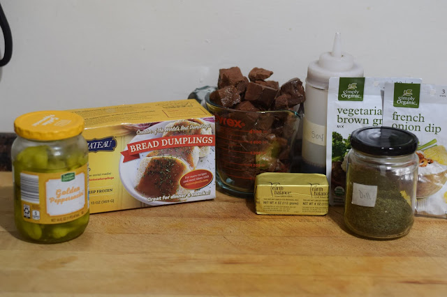 A picture of all the ingredients needed to make the vegan mississippi pot roast recipe.