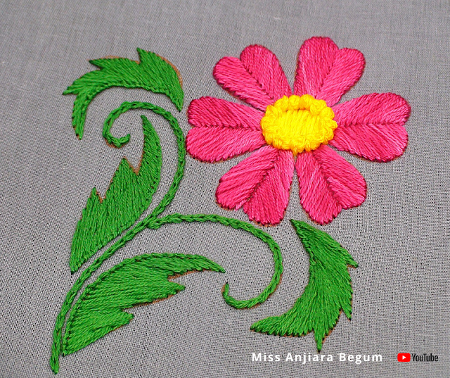 Cute hand embroidery flower creation, easy flower embroidery home made creation