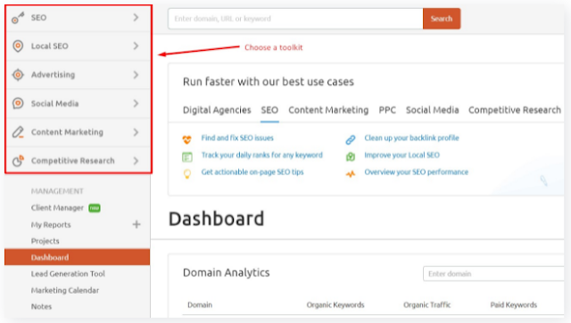 SEMRUSH REVIEW: TOOL TYPES / TOOLKIT OPTIONS AVAILABLE ON DASHBOARD