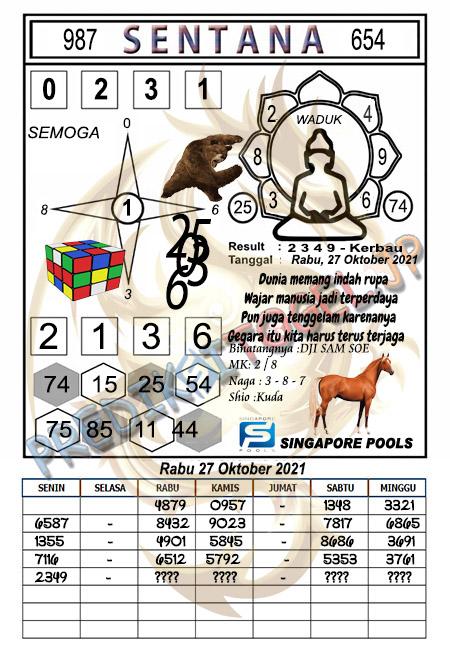 Prediksi Syair Sentana SGP Rabu 27-10-2021
