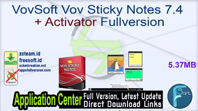 VovSoft Vov Sticky Notes 7.4 + Activator Fullversion