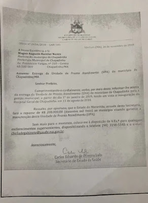 Ofício 1 do governo do estado do Maranhão prometendo ajuda que nunca chegou.